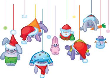 Tenstickers. Joulu roikkuu merkkejä tarra. Koristele kotisi tällä juhlallisella täytetyn eläimen tarralla ja nukkeilla, jotka näyttävät roikkuvan seiniltäsi.