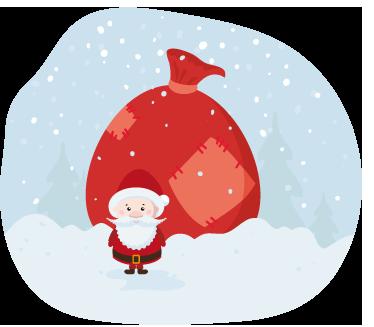 TenStickers. Kertsman sneeuw sticker. Muursticker met een afbeelding van een kerstmannetje dat in de sneeuw staat met zijn grote zak vol cadeaus!