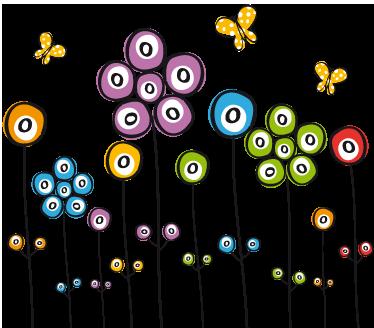 TenStickers. 꽃의 필드 스티커. 여러 가지 빛깔 된 꽃과 우리의 꽃 벽 스티커 컬렉션에서 노란 나비의 필드를 보여주는 아이 벽 스티커. 모든 어린이 방, 거실 또는 침실에 이상적인 훌륭한 장식.