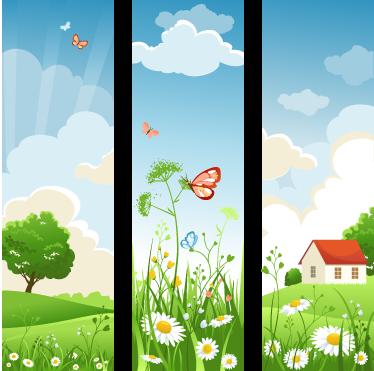 TenStickers. Drie Panelen Muursticker Lente. Versier uw huis met deze mooie kleurrijke en vrolijke muursticker van een landschap van de lente dat een goed humeur met zich meebrengt.