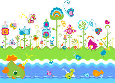 TenStickers. Kids Fantasy World Mural. A colourful illustration of a psychedelic meadow on the banks of river filled with vibrant fish from our under the sea wall stickers set.