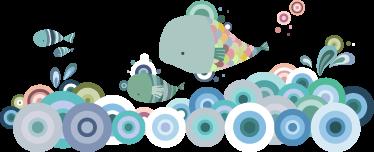 TenVinilo. Vinilo infantil un mar de peces. Espectacular diseño adhesivo de un pequeño banco de peces nadando en un océano abstracto. Vinilo decorativo donde podemos observar un fondo marítimo creado a través de redondas concéntricas y una multitud de peces coloridos que están nadando.