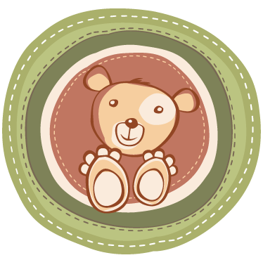 Tenstickers. Nalle ympyrässä lasten tarra. Koristele lasten makuuhuone tai leikkialue tällä ainutlaatuisella ja alkuperäisellä kuviolla, joka kuuluu kokoelmaan lasten nallekarhujen seinätarroihin.