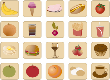 TenStickers. Food and Drinks Tile Stickers. A collection of various food icons ideal for homes or businesses. A superb set of decals from our collection of tile stickers.