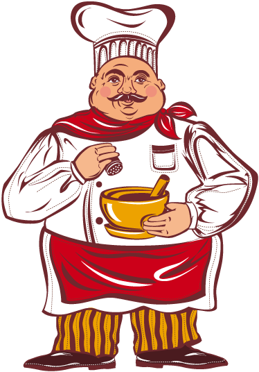 TenStickers. Sticker keuken dikke kok kleur. Een mooie muursticker van een chef-kok dat voorbereidingen treft in zijn keuken! Een leuke wandsticker voor de decoratie van uw keuken of eetkamer!