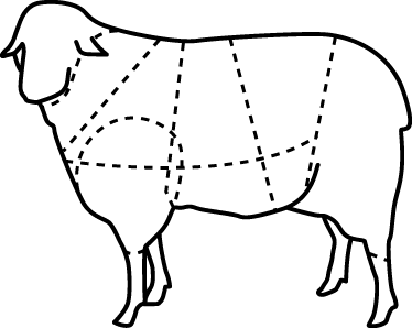 TenStickers. Sheep Body Sections Wall Sticker. Wall Stickers - An outline diagram that marks the parts of a sheep. Great for business such as a butchers or a restaurant.