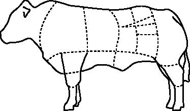 TenVinilo. Vinilo decorativo piezas vaca. Adhesivo pensado para carnicerías con un dibujo en línea de las partes más jugosas de la carne de una vaca.