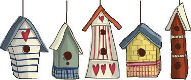 TenStickers. 새 집 벽 스티커. 5 개의 다채로운 새 집을 보여주는 아이 벽 스티커. 벽을 장식하고 가정 장식에 약간의 색상을 가져 오는 멋진 스티커. 네 인생을 밝게하기 위해 사랑의 마음을 가진 나무 새장을 매달려.