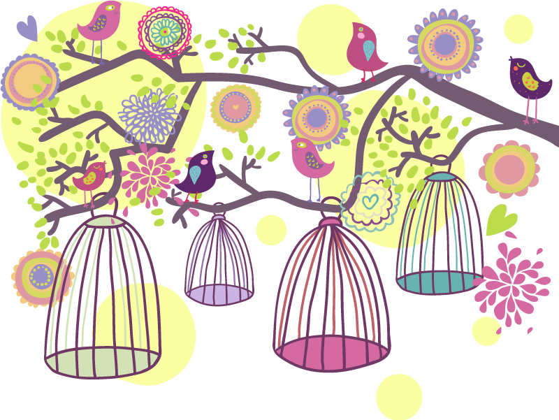 TENSTICKERS. 装飾的な鳥かごデカール. 鳥の壁のステッカー - 鳥や花のある枝から垂れ下がった異なる鳥の檻の装飾的でカラフルな壁のステッカー。