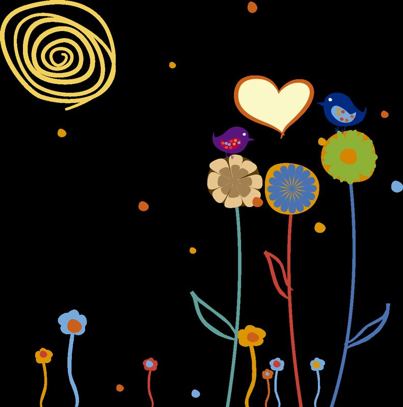 TenStickers. Sticker kind vogels bloemen zon hartje. Een leuke en gezellige muursticker van twee verliefde vogeltjes ter decoratie van de kamer van uw kind.