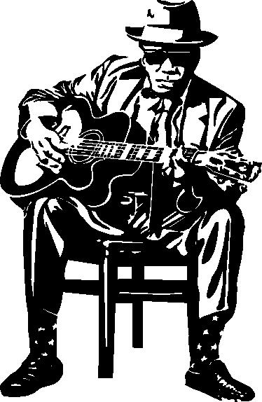 TenStickers. sticker figuur John Lee Hooker gitaar. Deze muursticker omtrent de naam van de Amerikaanse blueszanger John Lee Hooker. Ideaal voor grote fans van hem en zijn muziek!