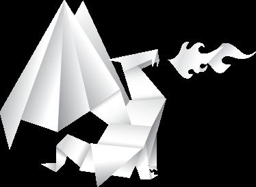 TenStickers. Sticker kinderkamer draak origami. Een muursticker gebaseerd op de uit Japan afkomstige kunst van het vouwen van papier. Een leuke wandsticker van een vuurspuwende draak uit origami.