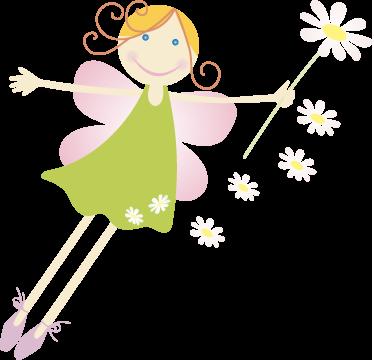 TenStickers. Autocolante decorativo infantil fada com flores. Autocolante decorativo infantil que representa uma adorável fada com asas cor de rosa, segurando uma margarida!