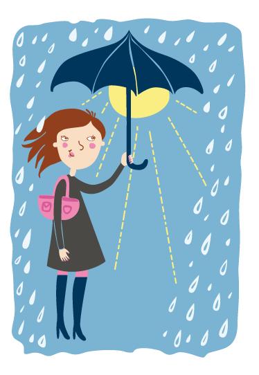 TENSTICKERS. 雨が気にならないウォールステッカー. 雨が降って、雨が消えて、また来ます。傘を持っている人は、雨ビニールの壁のステッカーを気にしません。