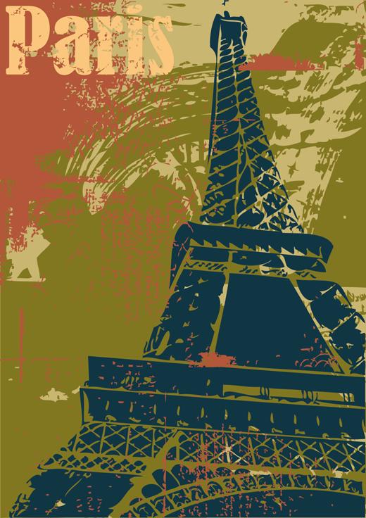 TenStickers. Sticker decorativo poster Parigi. Adesivo murale che raffigura un manifesto della capitale francese con la Torre Eiffel che troneggia in primo piano. Ideale per decorare il soggiorno o la camera da letto.