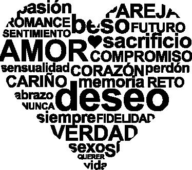 TenVinilo. Vinilo decorativo corazón de texto. Original adhesivo con toda una serie de conceptos relacionados con el amor y el mundo de la pareja.