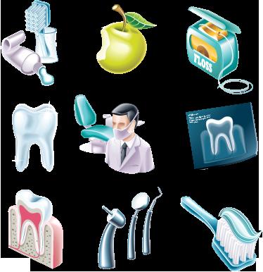 TENSTICKERS. 歯科用デカールコレクション. ウォールステッカー-歯科医と歯のケアに関連するイラスト集。