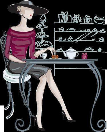 TenVinilo. Vinilo decorativo mujer elegante café. Fantástica ilustración en adhesivo de una glamourosa mujer en su hora de la merienda.
