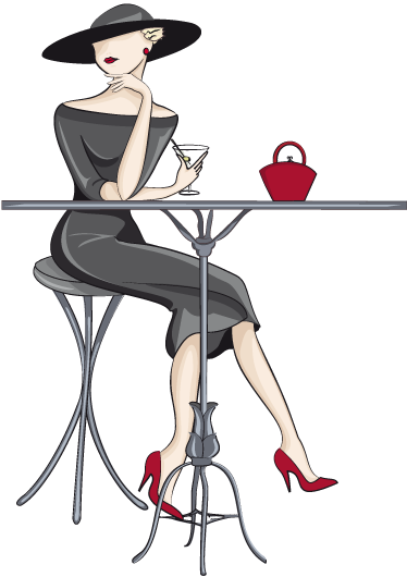 TenStickers. Elegant Cocktail Woman Wall Sticker. Elegant wall sticker of a woman sat at a table drinking a cocktail, perfect for decorating your living room, kitchen or cafe. Available in any size you want and leaving no sticky residue when removed.