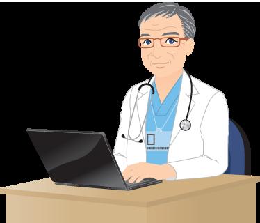 TenStickers. Dokter met laptop sticker. Muursticker van een dokter dat aan zijn kantoor zit achter zijn laptop! Hij draagt zijn doktersjas en heeft een bril op.