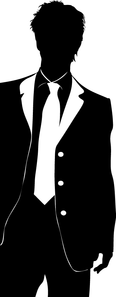 TENSTICKERS. クールスーテッドガイウォールステッカー. ウォールステッカー-スーツとネクタイの男性像のシルエットイラスト。さまざまなサイズと50色で入手できます。長持ちするデカール。