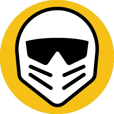 TenVinilo. Adhesivo decorativo logo motorstorm. Llamativa pegatina de fondo amarillo circular y un casco de motorista iconográfico.