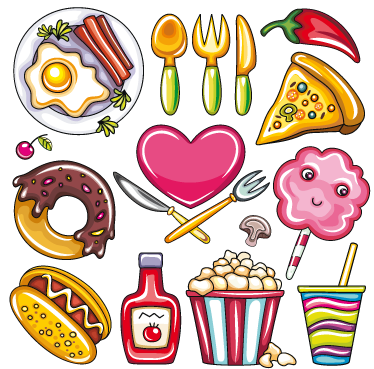 TENSTICKERS. イラスト入りフードデカールコレクション. ウォールステッカー-デカール-さまざまな種類の食べ物の活気に満ちたカラフルなイラスト。ピザ、卵、ドーナツ、ポップコーン、ホットドッグなど。