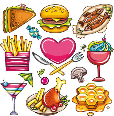 TenStickers. Illustrated Heart Food Decal Collection. Wall Stickers - Decals - Vibrant colourful illustrations of various types of food. Fries, burger, fish, ice cream, waffles and more.