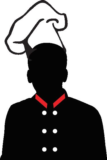 TENSTICKERS. シルエットシェフ帽子壁ステッカー. 赤い色の黒いシルエットのシェフの帽子を示すこの装飾的なステッカー。料理に情熱がある?このステッカーはあなたのためです。