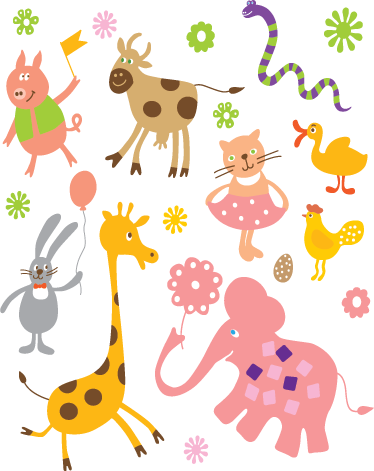TenStickers. Kids Animal Celebration Decal Collection. Kids Wall Stickers - Playful fun features of a variety of wild animals celebrating. Colourful collection of stickers great for decorating nurseries