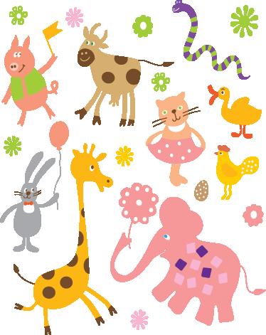 Tenstickers. Lasten eläinjuhla tarran kokoelma. Lasten seinätarrat - leikkisä hauskoja piirteitä monien villieläinten juhlimiseen. Värikäs tarrakokoelma, joka sopii erinomaisesti taimitarhojen koristamiseen