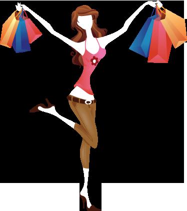 TENSTICKERS. 幸せな買い物客のステッカー. 買い物袋で満たされた若い女性を描いたステッカーであり、それを見せてうれしい。
