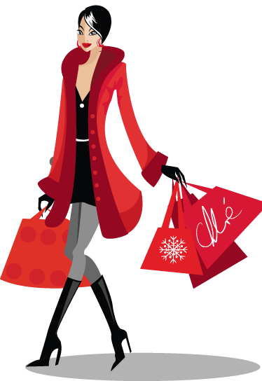 TenStickers. Shopping Sticker. A glamorous young lady carrying lots of shopping bags walking down the high street. A sticker to show off your love for shopping and treating yourself to new clothes or accessories. This fancy woman walks with confidence and this could be portrayed on the walls of your home or business now.