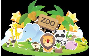 Tenstickers. Zoo festival barn klistermärke. Ungar klistermärke ilillustrating zoo djur som: lejon, pandaer, elefanter och giraffer...