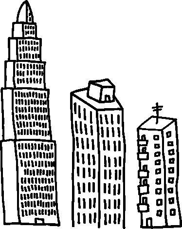 TenVinilo. Vinilos decorativos tres edificios línea. Decora las paredes de tu casa con este conjunto de tres rascacielos en adhesivo dibujados a mano.