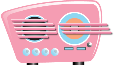 TenStickers. Sticker radio rose vintage. Un sticker mural dessin illustrant une radio rose au style vintage. Pour une ambiance cool dans tout type de pièce ! Envoi Express 24/48h.