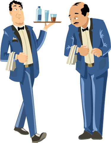 TenStickers. Waiters in blue uniforms sticker. A wall sticker illustrating 2 waiters: one with a tray of drinks and another with a serviette on his arm.