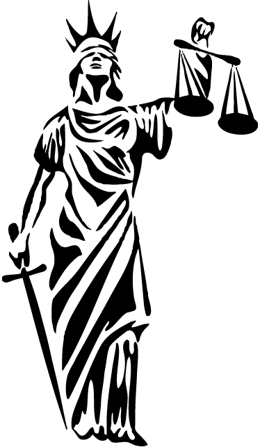 TenStickers. Symbol of Justice Sticker. Lady Justice wall sticker to decorate any office or law firm. An iconic symbol of legal fairness available in any size and colour. Classic illustration of Lady Justice with a blindfold, scales and a sword.