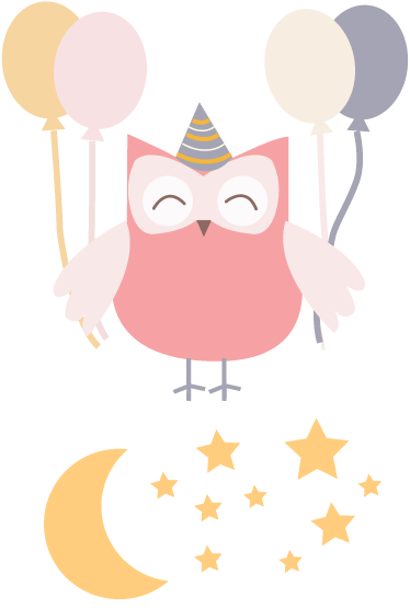TenStickers. Kids Owl Party Kids Decal. Who doesn't like owls? Especially an owl enjoying a party! This creative design from our owl wall stickers collection is perfect for kids.