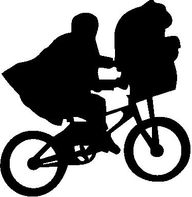 TenVinilo. Vinilo decorativo escena ET. Adhesivo decorativo con una de las imágenes más reconocidas de la historia del cine. Esta silueta de un niño encima una bicicleta iniciando el vuelo con su pequeño extraterrestre. ET la película, es un clásico en el mundo del cine creado por Steven Spielberg en el 1982.