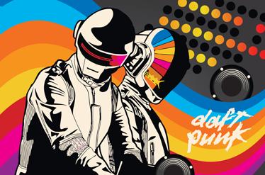 TenVinilo. Adhesivo portátil Daft Punk. Colorido diseño adhesivo de este dúo de música electrónica para aficionados al house.