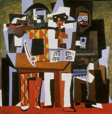Tenstickers. Picasso kolme muusikkoa seinä tarra. Tarrakokoelmastamme, jossa on kuuluisan taideteoksen virkistys, picasson 'kolmen muusikon' suunnittelu.