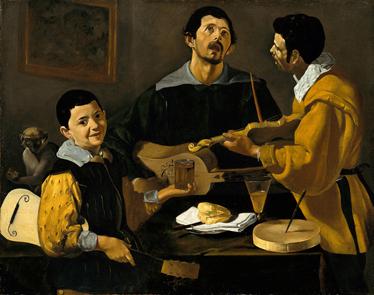 TenStickers. Sticker decorativo tre musicisti Velázquez. Adesivo murale che raffigura una delle opere più famose del maestro spagnolo Diego Velázquez, intitolata: I Tre Musicisti. Una decorazione i8deale per gli appassionati di arte.