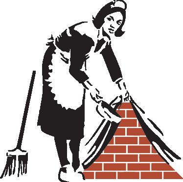 TenStickers. 女仆在伦敦由banksy艺术贴纸. 由神秘艺术家,银行家制作的艺术作品的街头艺术墙贴。从我们的银色墙贴系列中可爱的设计!设计展示了一个单色的女仆在墙后面扫除泥土,露出砖块,象征着什么?你决定。