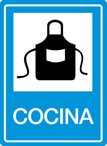 TenVinilo. Vinilo decorativo señalizacion cocina. Original adhesivo basado en las señales de tráfico para que indiques dónde está tu cocina.