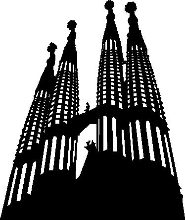TenStickers. 사그라 다 파밀리아 스카이 라인 스티커. 바르셀로나를 좋아한다면 바르셀로나에서 가장 유명한 건물 인 사그라 다 파밀리아 (sagrada familia)를 묘사 한이 스티커가 완벽합니다!