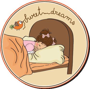 TenVinilo. Vinilo decorativo cabecero sweet dreams. Adhesivo circular con un bonito dibujo de una niña disfrutando de unos dulces sueños. Ideal para decorar el cabezal de la cama de tu niña.