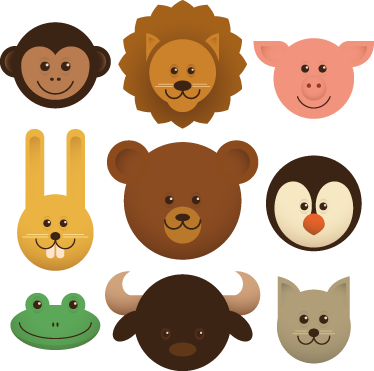 TenStickers. Kids Animal Heads Decals. Kids Wall Stickers - Playful fun illustrations of various animal heads. Set includes a monkey, lion, pig, rabbit, bear peguin, frog, bull and wolf.