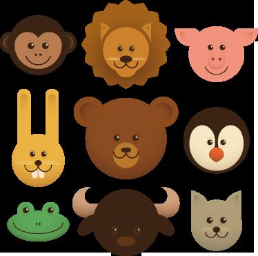 TenStickers. Sticker adesivo de cabeças de animais. Decore o quarto dos seus filhos com este sticker adesivo a ilustrar as cabecinhas desses animais adoráveis como um leão, um coelho entre outros.