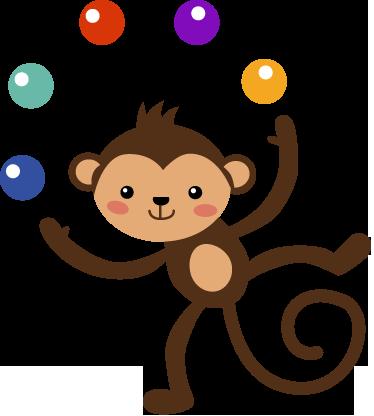 TenVinilo. Vinilo infantil decorativo mono malabarista. Divertido adhesivo de un chimpancé de circo jugando con bolas de colores.